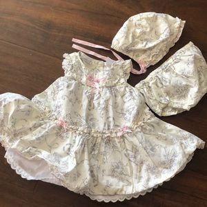 Camilla Dress set with bonnet and diaper cover